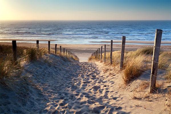 sandiger Weg zwischen Dünen in Richtung Meer